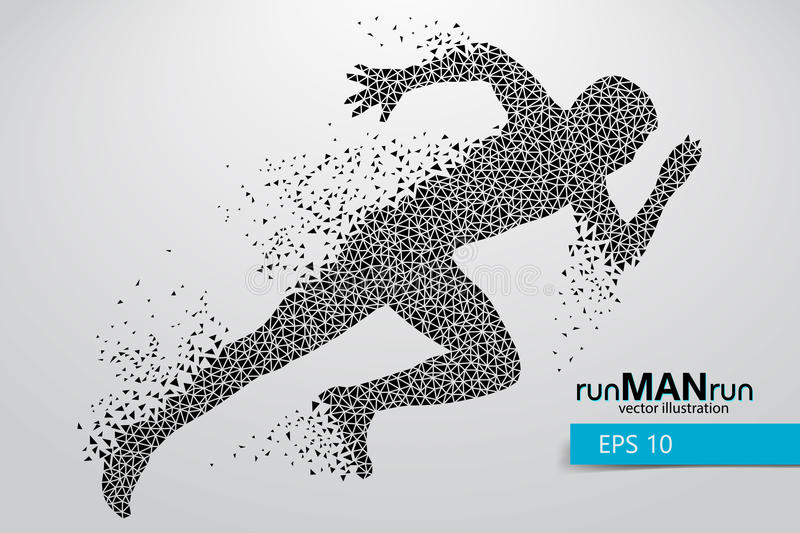 Silhouette of a running man from triangle. Text and background on a separate layer, color can be changed in one click royalty free illustration