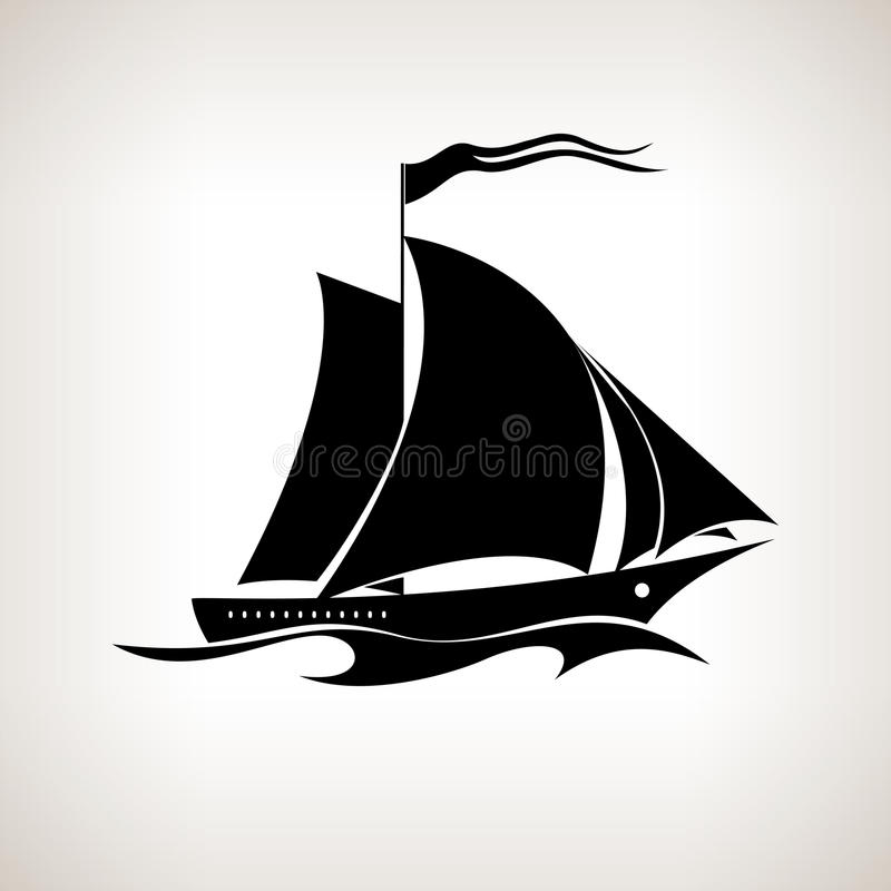 Free Silhouette Sailing Vessel On A Light Background Royalty Free Stock Image - 54068266