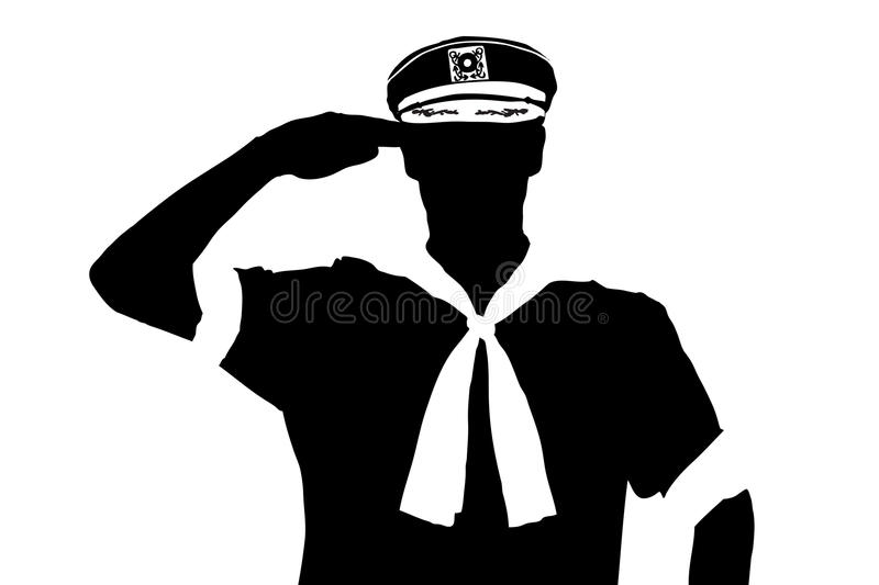 A Silhouette Of A Sailor Saluting Stock Illustration ...