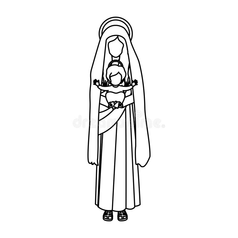Virgin Mary Outline Stock Illustrations – 183 Virgin Mary ...