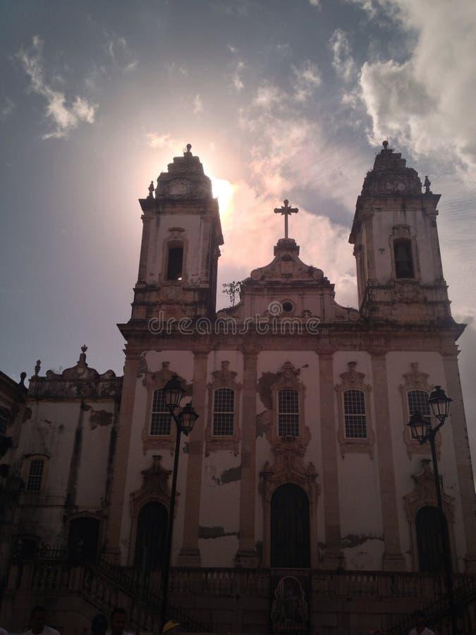 Silhouette salvador Bahia d'église photographie stock libre de droits