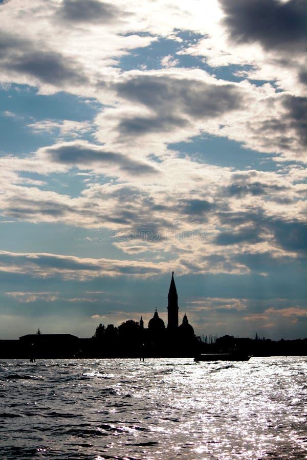 Silhouette of San Giorgio Maggiore in Venice, Italy stock photography