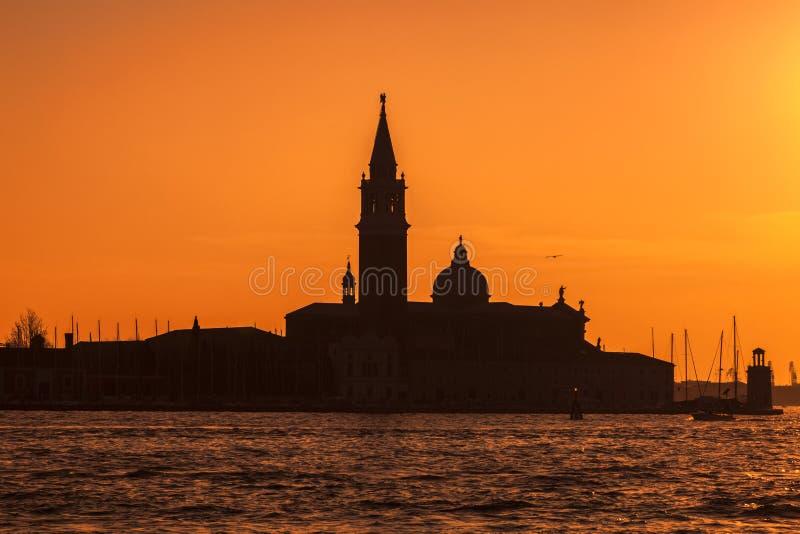 Silhouette of San Girogio Maggiore Church in Venice stock image