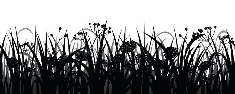 Silhouette sans couture d'herbe et de fleurs illustration de vecteur