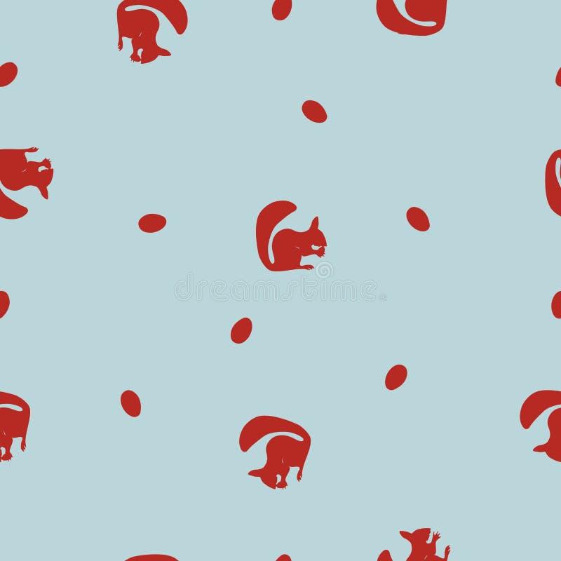 Silhouette sans couture et écrous d'écureuil rouge de stylization de modèle sur le bleu, vecteur, ENV 10 illustration de vecteur