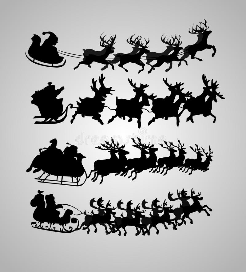 Silhouette of santa claus. And his sledge, for christmas design stock illustration