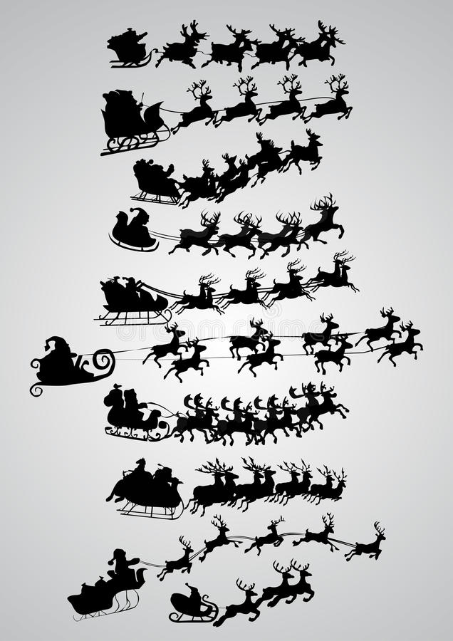 Silhouette of santa claus. And his sledge, for christmas design royalty free illustration