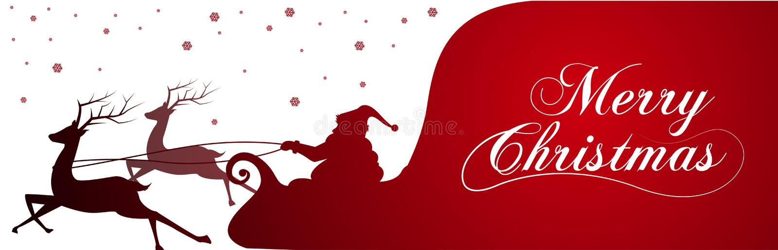 Silhouette with Santa Claus and bag full of gifts on winter background. Cartoon scene.lettering of Merry Christmas stock illustration