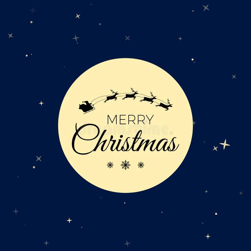 Silhouette of santa claus in deer sledding on night sky background. Santa fly on Moon background. Vector illustration royalty free illustration
