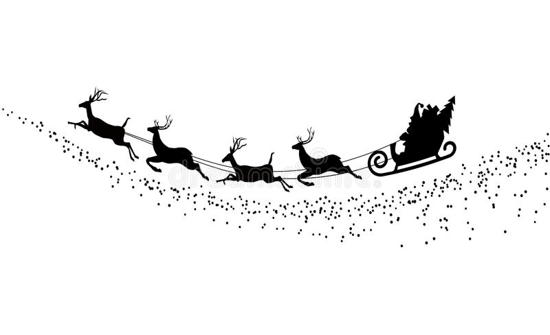 Silhouette Santa Claus flying with deer vector illustration