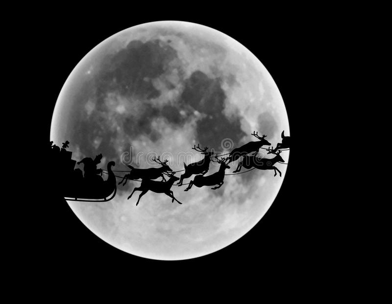 Silhouette of Santa Claus and reindeer riding sleigh in front of full moon in night sky. Reindeer pulling Santa Claus's sleigh past a big full moon in the night vector illustration