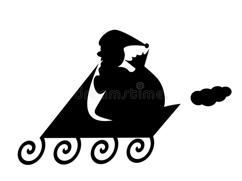 Silhouette of Santa Claus with sackful with presents royalty free illustration