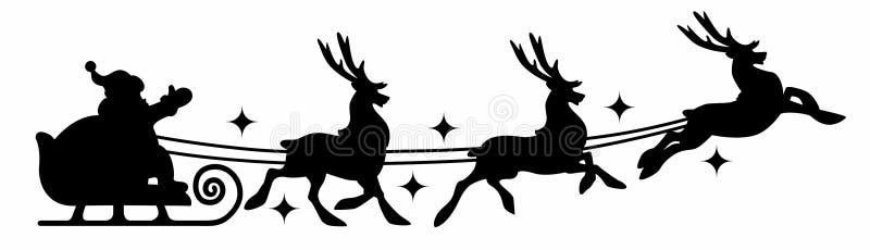 Silhouette of Santa Claus on sleigh stock photos