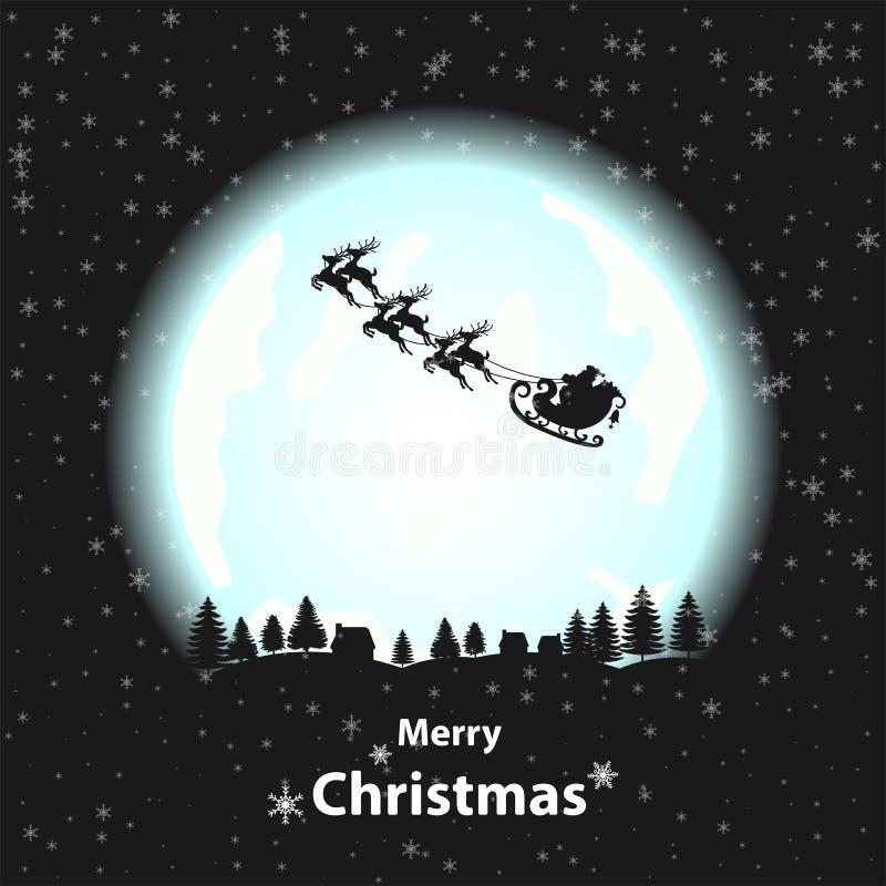 Silhouette Santa Clause of Full Moon stock illustration