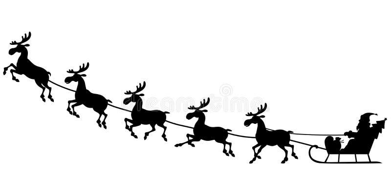 Silhouette Santa Riding On Reindeer Sleigh Stock Vector ...