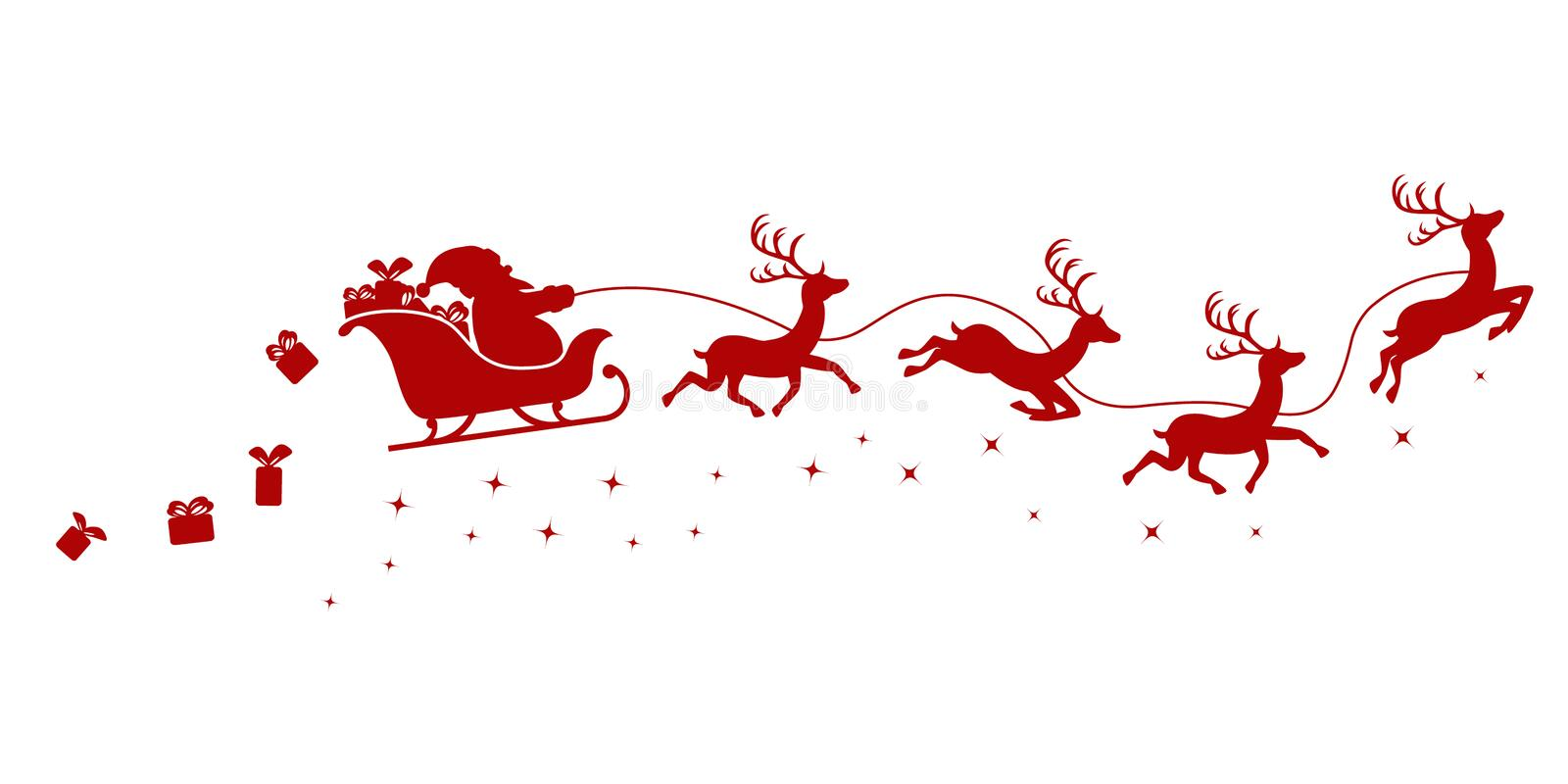 Silhouette of Santa on a sleigh flying with deer and throwing gifts on a white. vector illustration