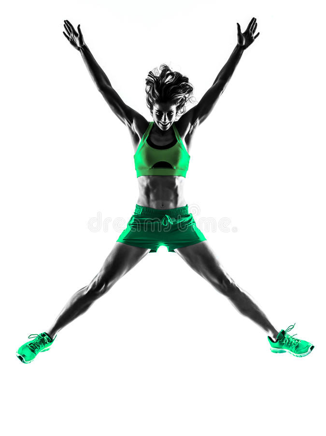 Silhouette sautante de forme physique de femme image stock