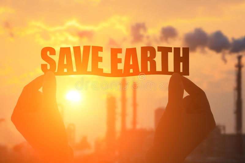 Silhouette save earth word royalty free stock images