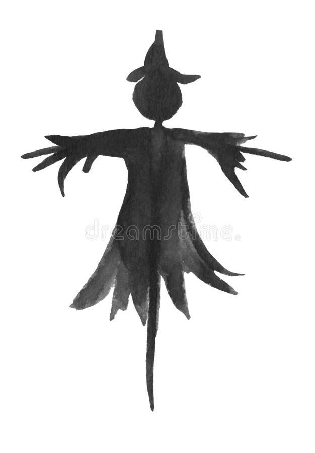 A silhouette of a scarecrow on a pole royalty free illustration