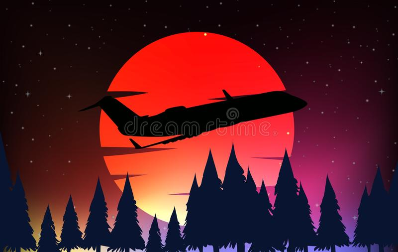 Silhouette scene with airplane and red moon royalty free illustration