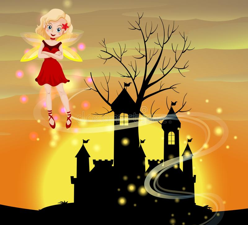 Silhouette scene with fairy flying vector illustration