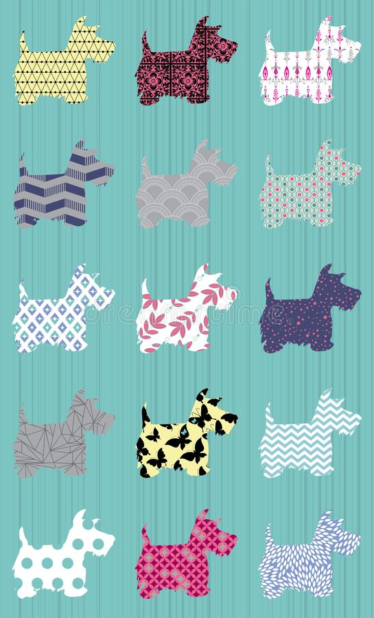 Silhouette scottie dogs with patterns repeat pattern royalty free illustration