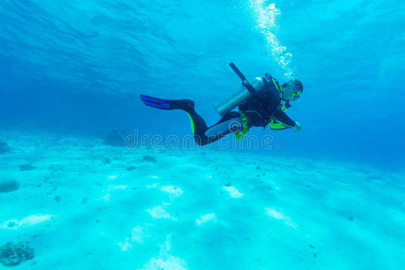 Silhouette of Scuba Diver near Sea Bottom royalty free stock image