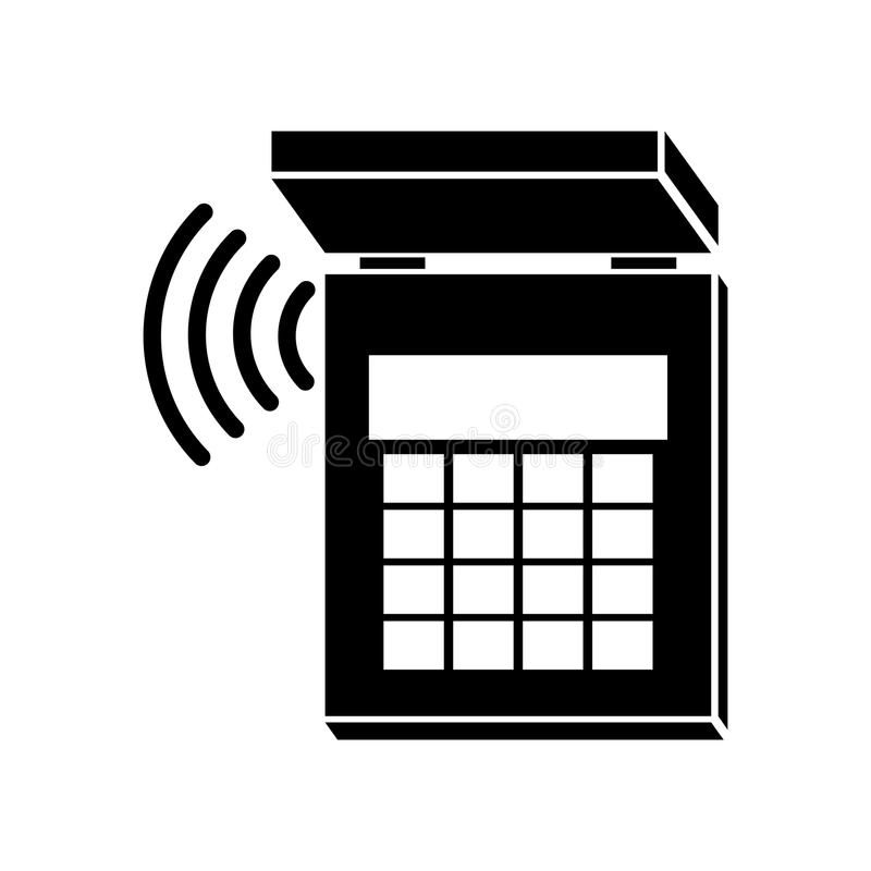silhouette security system alarm icon stock illustration