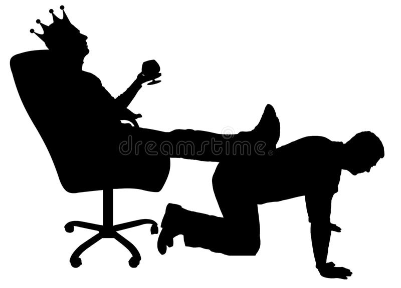 Silhouette of a selfish man with a crown on his head sitting in an armchair, threw back his legs on the man`s back vector illustration