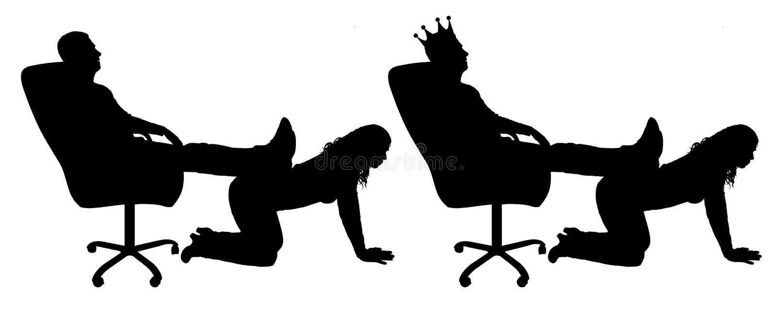 Silhouette of a selfish man with a crown on his head sitting in a chair, threw back his legs on the woman`s back stock illustration