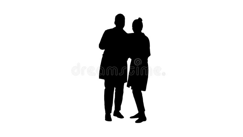 Silhouette Serious nice woman doctor and afro american doctor study brain x ray. Full length. Silhouette Serious nice women doctor and afro american doctor royalty free stock photography