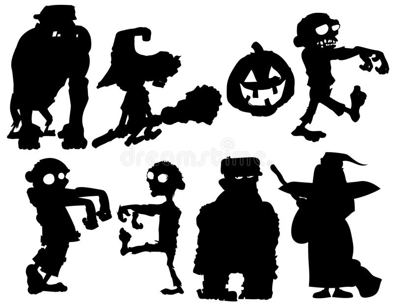 Silhouette set of Halloween characters. Isolated on white vector illustration