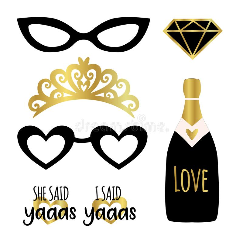 Silhouette set of party photobooth props vector elements. Champagne, crown, glasses, diamond and signs She said Yes - in american vector illustration