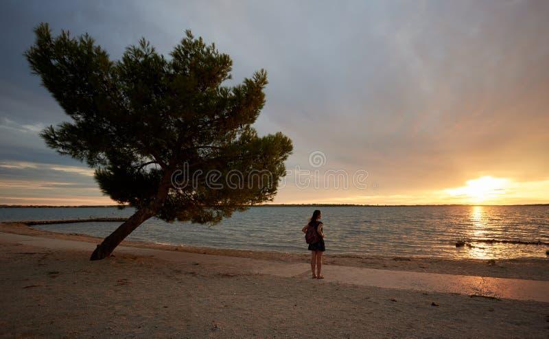 Silhouette seule de femme au bord de l'eau, appréciant le beau paysage marin au coucher du soleil photos libres de droits