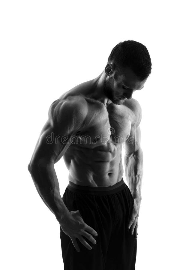 Silhouette of a bodybuilder on a white background stock photos