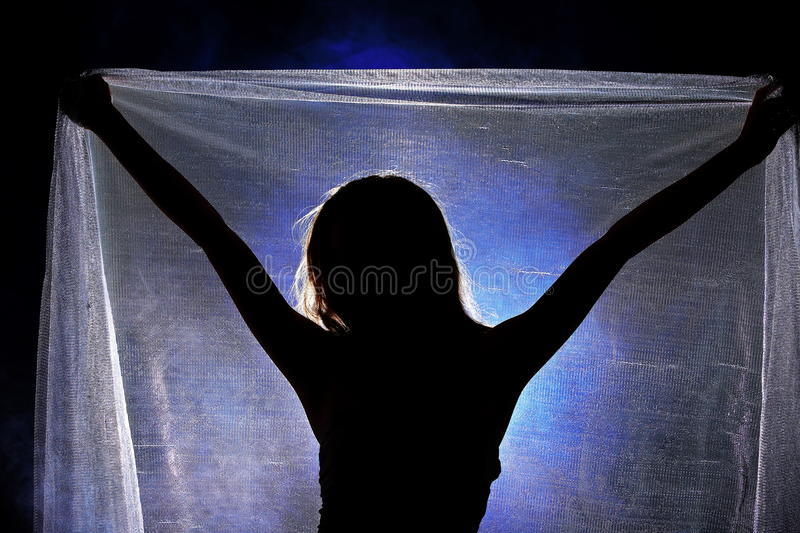 Silhouette Shadow of Woman in wave hair style with silver net stock photo