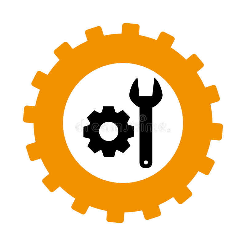 Silhouette in shape of gear with wrench and pinion royalty free illustration