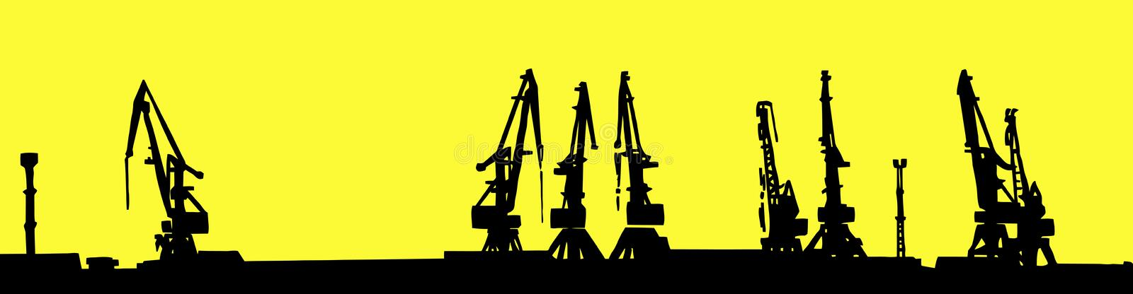 Silhouette shipyard. Isolated on yellow background royalty free illustration