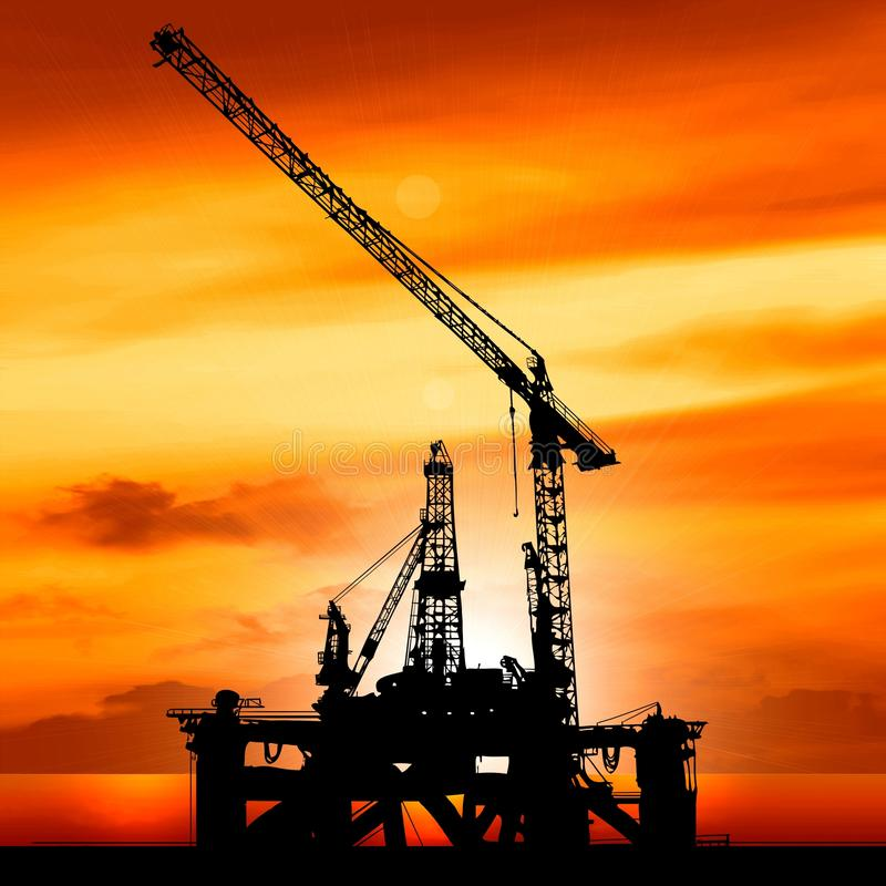 Silhouette of shipyard in the sunset. Illustration royalty free illustration