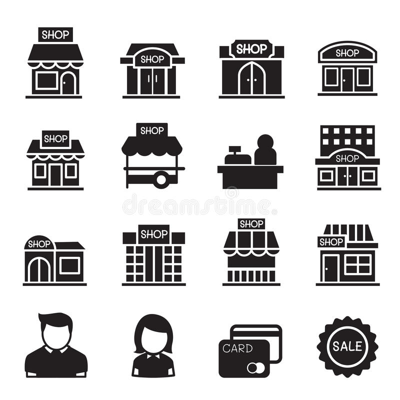 Silhouette Shop building icon set royalty free illustration