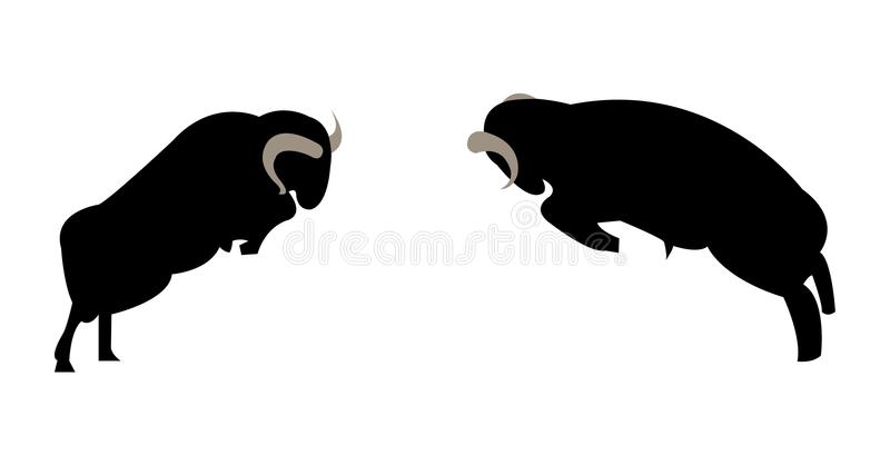 Two male rams fighting and ramming stock illustration