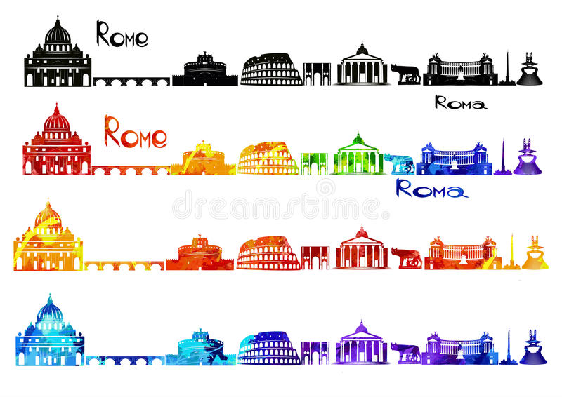 Silhouette sights of Rome in b-w and in watercolor royalty free stock image