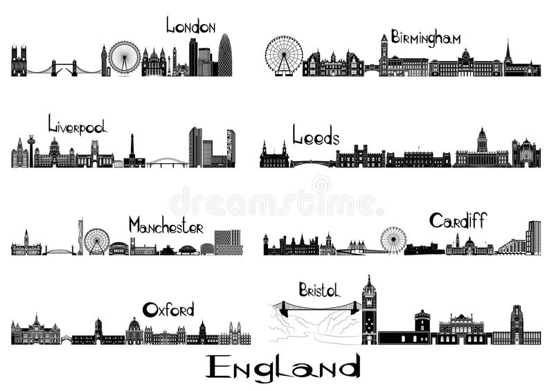 Silhouette signts of 8 cities of England. London, Liverpool, Manchester, Oxford, Birmingham, Leeds, Cardiff, Bristol stock illustration