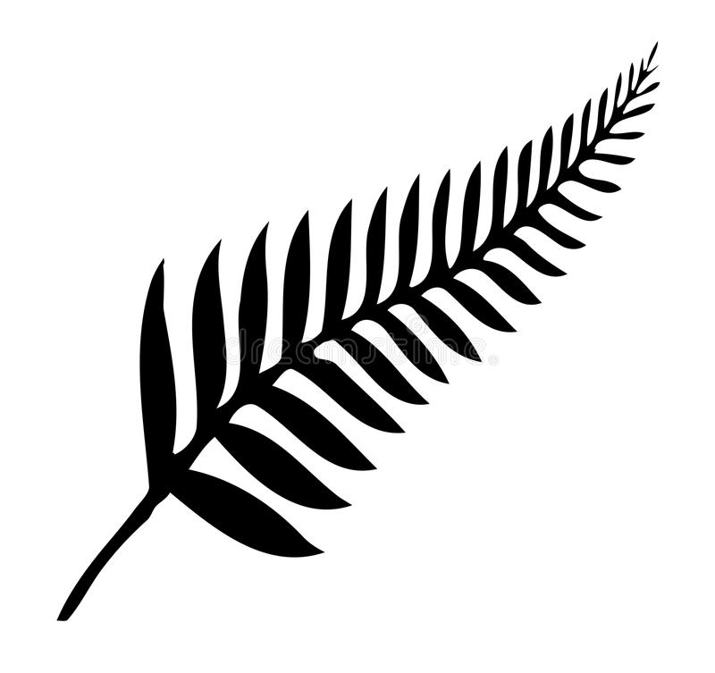 Silver Fern of New Zealand. Silhouette of a silver fern, a national emblem of New Zealand over a white background stock illustration