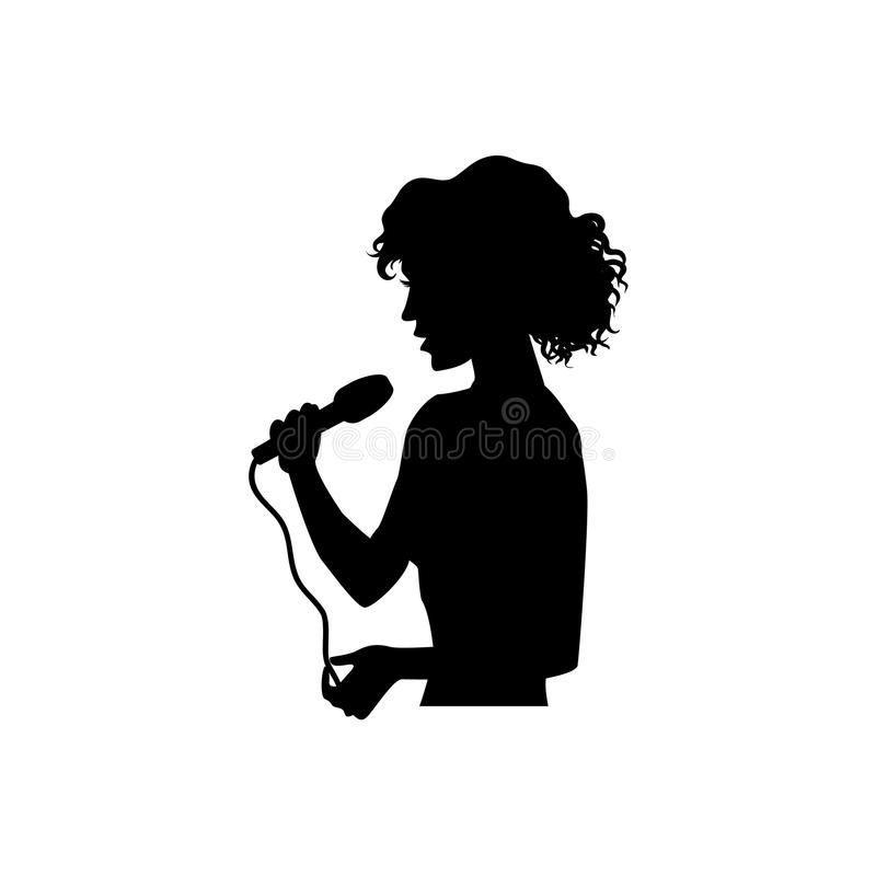 Silhouette of singing woman, girl, half length. Half length portrait, figure of beautiful woman singing with microphone, black vector silhouette isolated on stock illustration