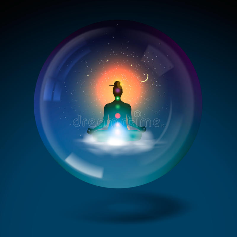 Silhouette sitting lotus position in sphere. royalty free illustration