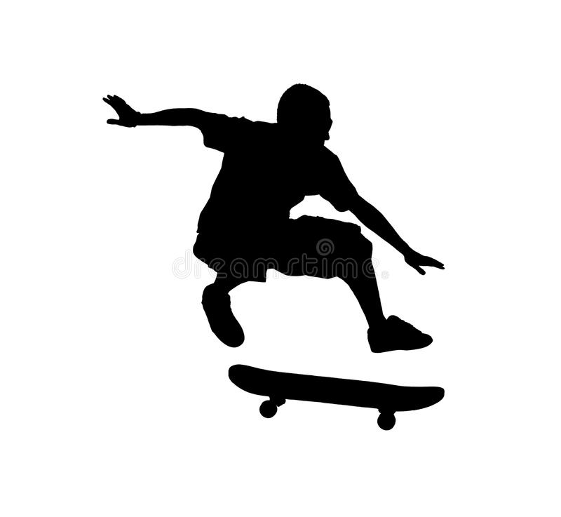 Silhouette of a skateboarder jumping. A silhouette of a skateboarder jumping isolated on a white background