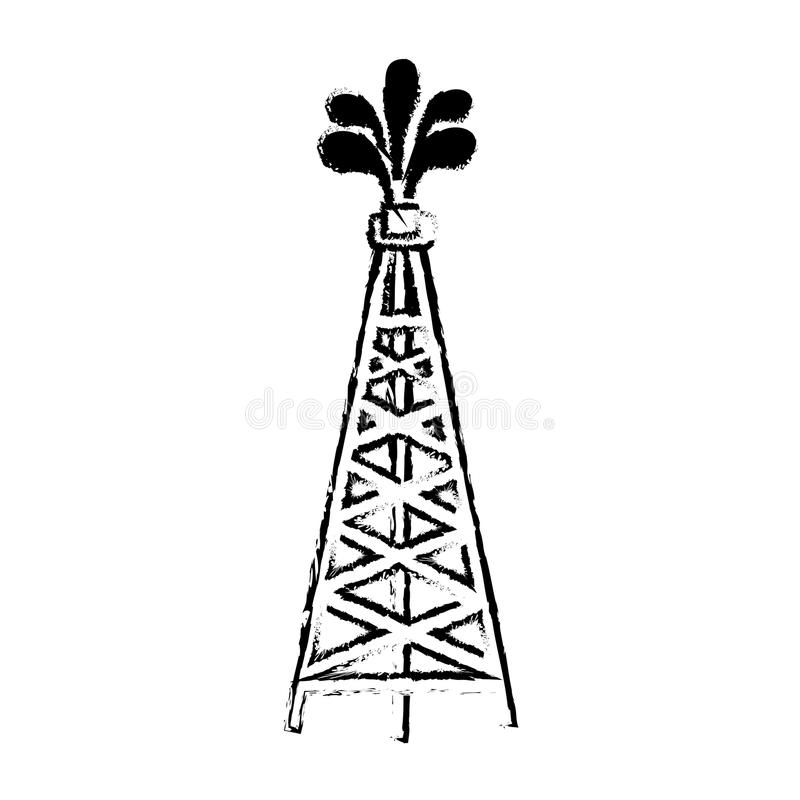 Silhouette sketch blurred oil rig icon stock illustration