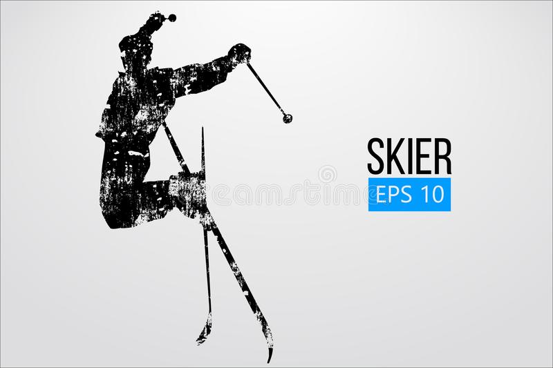 Silhouette of skier jumping isolated. Vector illustration. Silhouette of a skier jumping isolated. Background and text on a separate layer, color can be changed