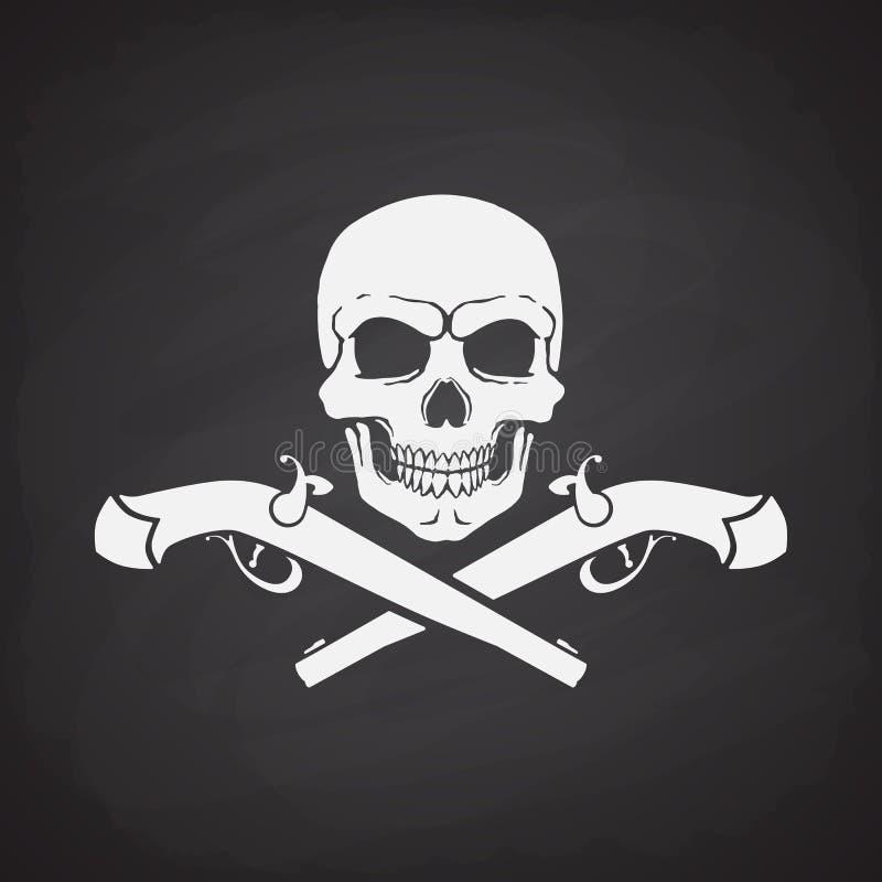 Silhouette of skull Jolly Roger with crossed pistols stock illustration